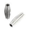Metal Bead Pleated Tube 13x4mm Silver